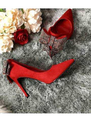 """Mes escarpins rouges style daim """"nœud précieux"""""""
