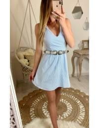 Ma robe bleu ciel fines rayures et dos croisé