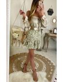 """Ma jolie jupe beige imprimée """"motif gold et volant"""""""