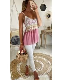 """Mon top pink  """"sequins et broderies"""""""