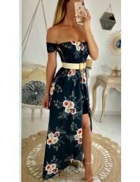 """Ma robe longue bustier """"noire et jolies roses"""""""