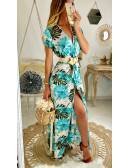 "Ma jolie robe longue turquoise ""hawai flowers"""