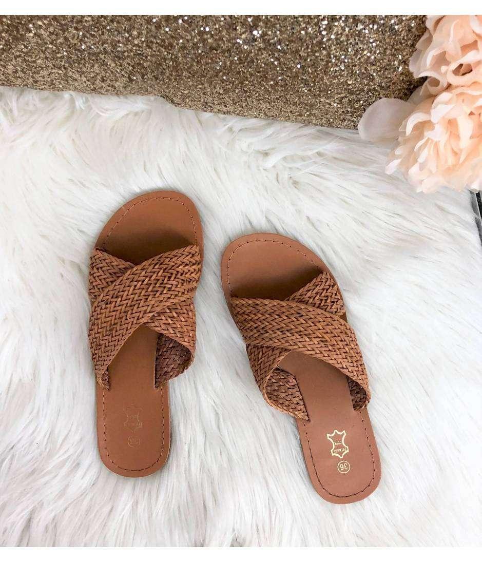 Mes sandales camel à brides croisées