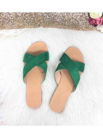 Mes sandales verte à brides croisées