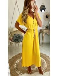 "Ma longue robe jaune ""boutons et pompons"""