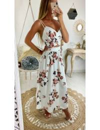 """Ma robe longue blanche  jolies roses """"décolleté et dos croisé"""""""
