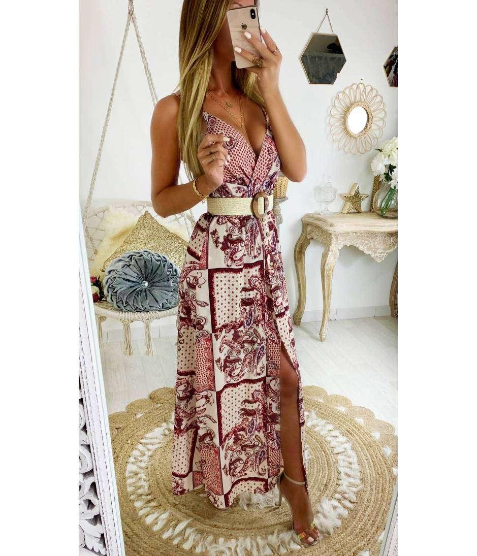 Ma jolie robe longue rose et new imprimé