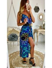 Ma robe longue bleu imprimé et son short