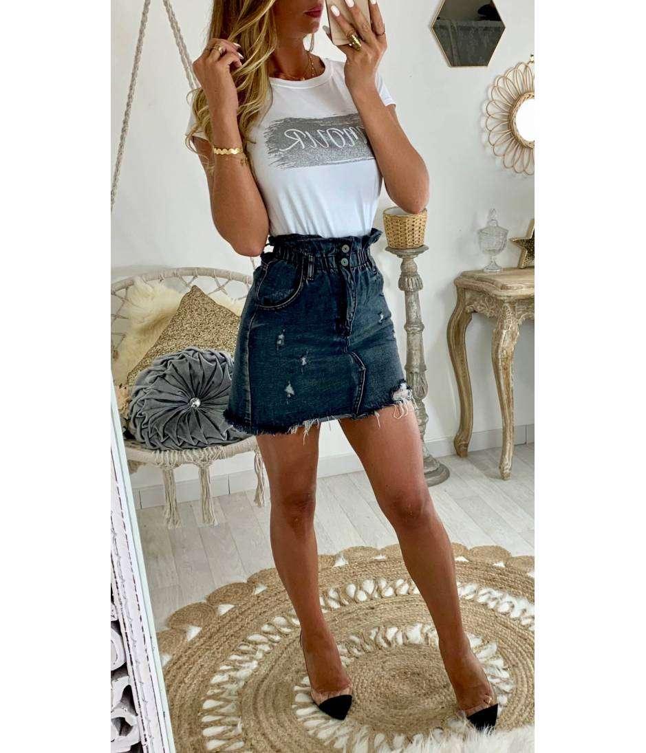 Ma Jolie Jupe En Jeans Grey Et Taille Haute Mylookfeminin Un Look Un Concept Un Prix