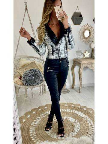 """Perfecto black and white  """"style tweed"""""""