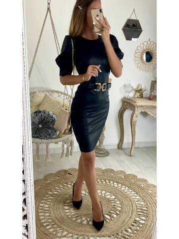 Ma superbe robe black style cuir et manches ballon