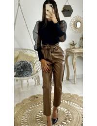"Mon pantalon camel style cuir ""taille haute"""