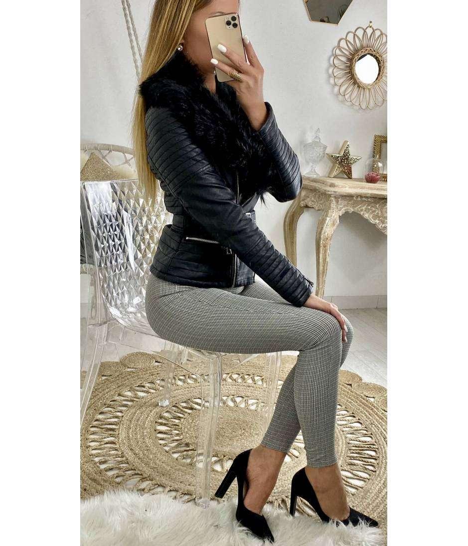 Blouson black style cuir fourré