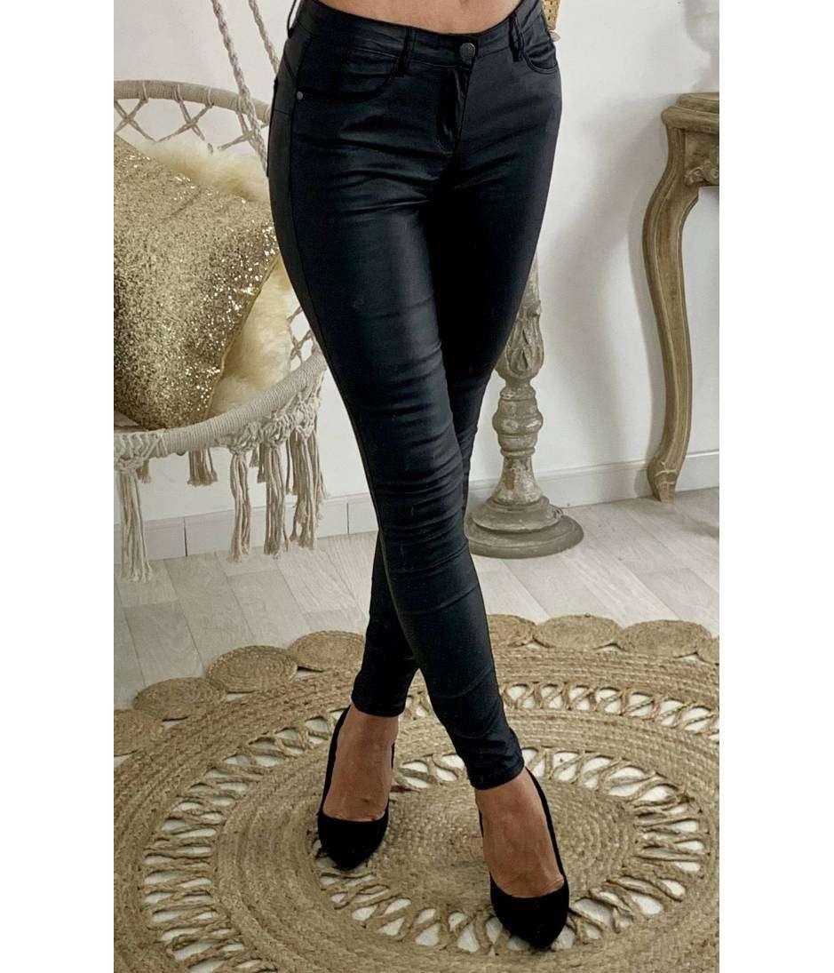Mon jeans noir enduit push up'