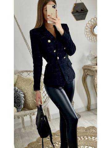 "Mon blazer black ""tweed lumineux"""
