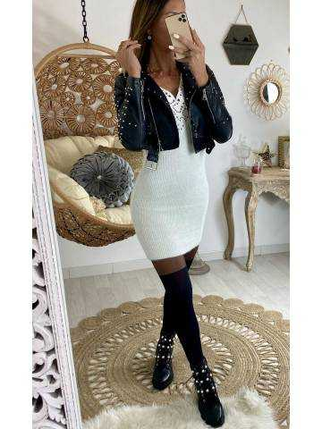 "Mon mini perfecto noir style cuir ""clouté"""