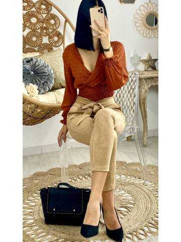 "Ma jolie blouse courte plumetis rouille cache coeur ""taille smokée"""
