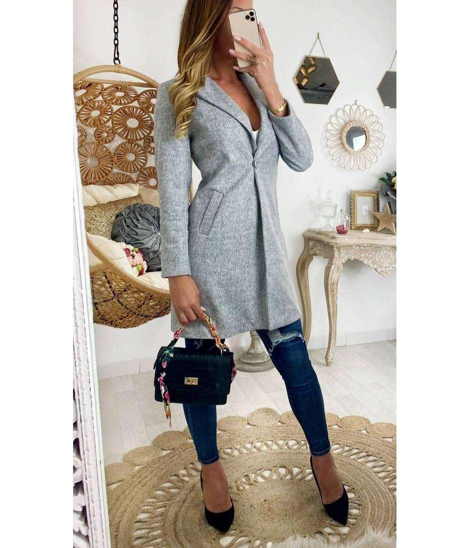 """Mon manteau en lainage """"gris boutonné"""""""