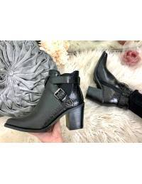 "Mes jolies bottines pointus black croco ""brides"""