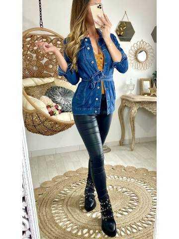 """Ma jolie veste en jeans longue """"ceinturée"""""""