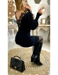 """Mon jolie robe pull noire """"dos dentelle"""""""