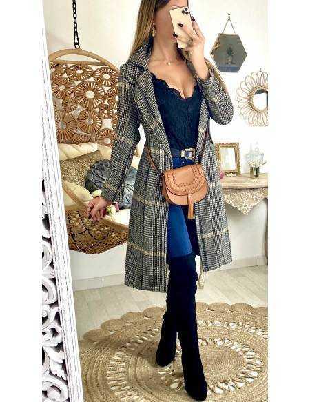"Mon joli manteau style vichy ""camel & black"""