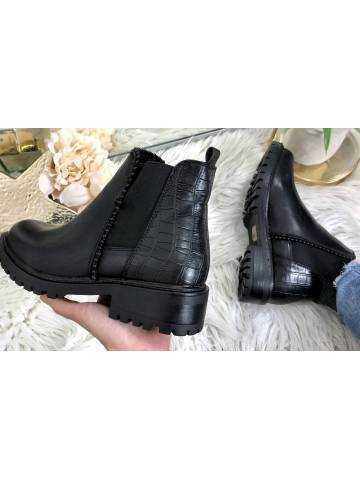Mes bottines Chelsea black  & croco