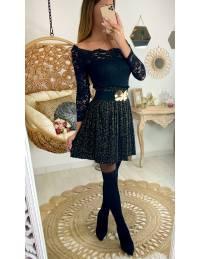 """Ma jupe plissée noire imprmée """"léo doré"""""""