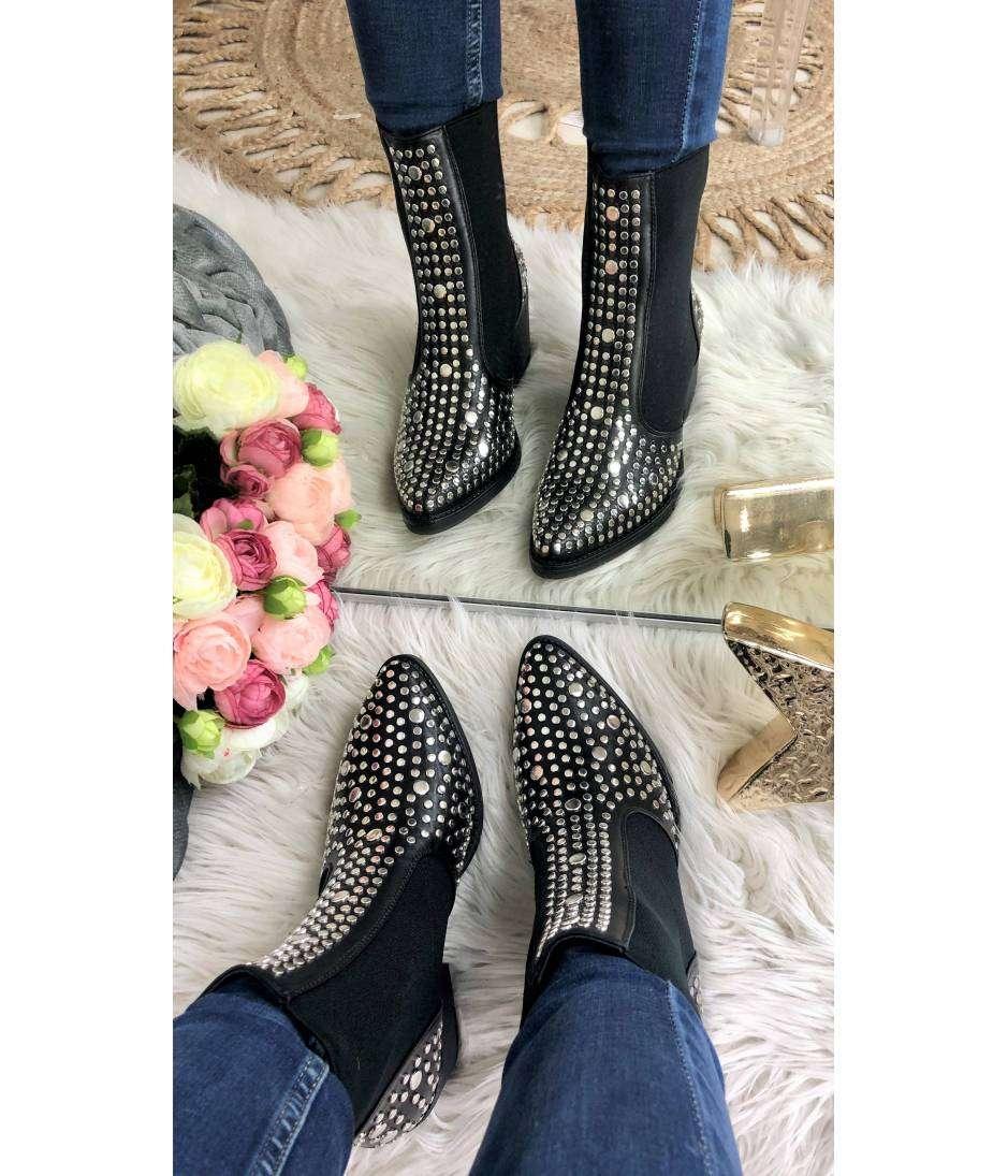 "Mes bottines style Santiag ""black & silver"""