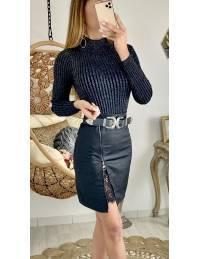"""Ma jupe black style cuir """"zip & dentelle"""""""