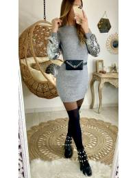 """Ma superbe robe pull grise """"manche sequins"""""""