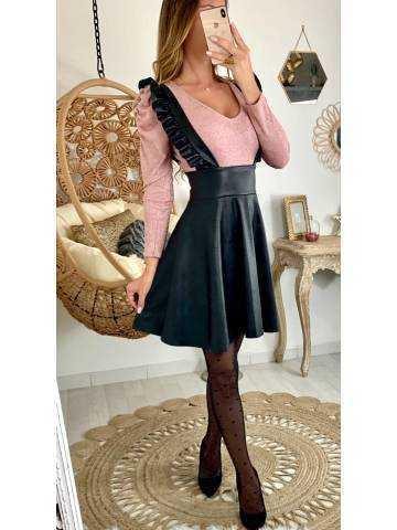 """Ma jupe style cuir noire """"brettelles à volants"""""""