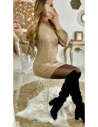 """Pull long beige """"col cheminé et strass"""""""