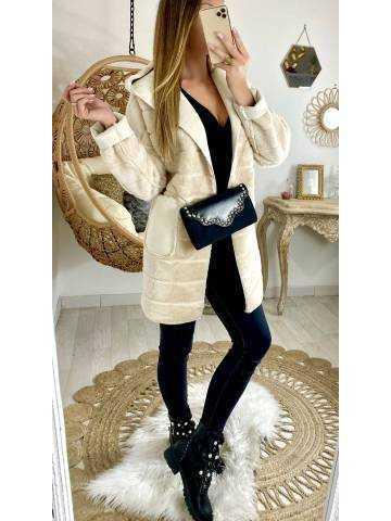 """Mon joli manteau beige """"style fourrure et daim"""""""