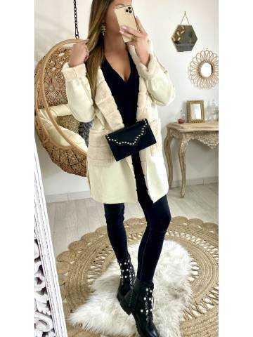 Joli manteau beige réversible