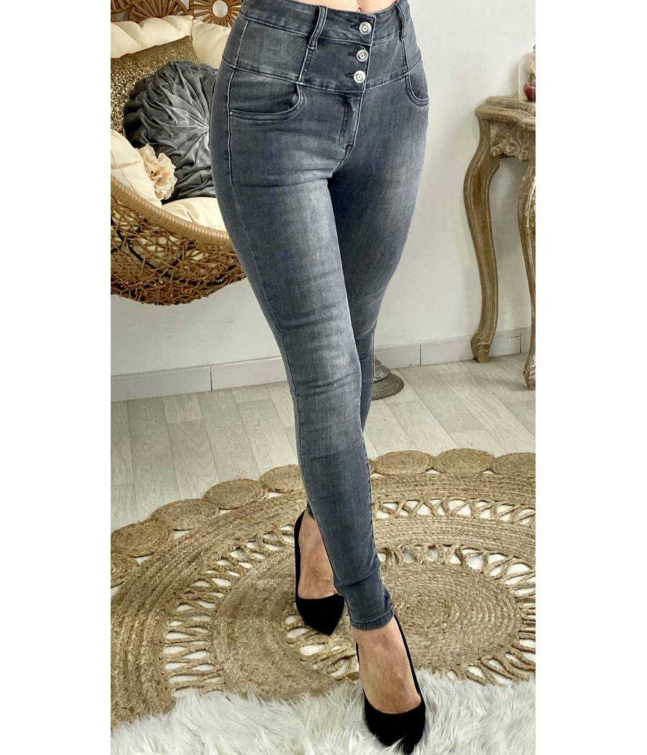 Mon joli jeans gris délavé taille haute
