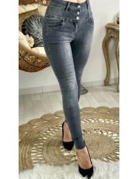 Mon joli jeans gris délavé taille boutonnée