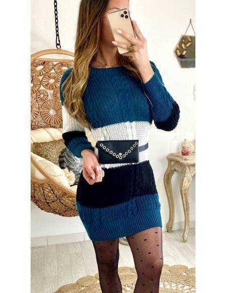 "Ma jolie robe en maille bleu canard ""tricolore"""