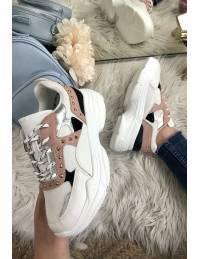 Mes jolies sneakers White/Pink & clous