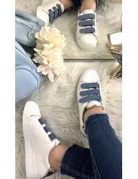 """Mes jolies baskets blanches """"blue & gold"""""""