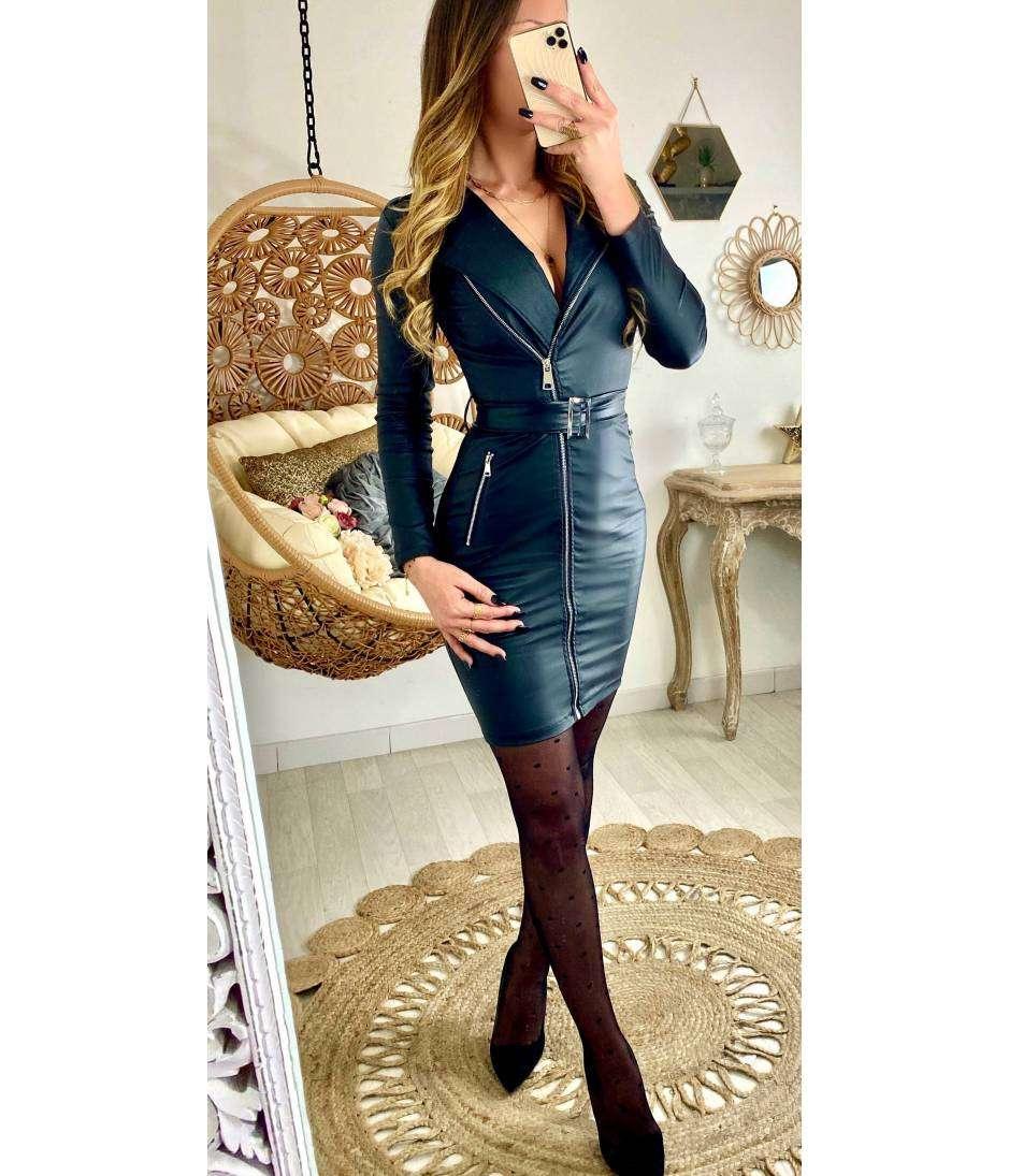 """Ma jolie robe black """"style cuir & zip"""""""