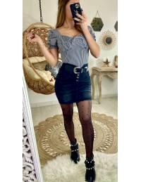 Ma jupe en jeans noire délavée & taille haute