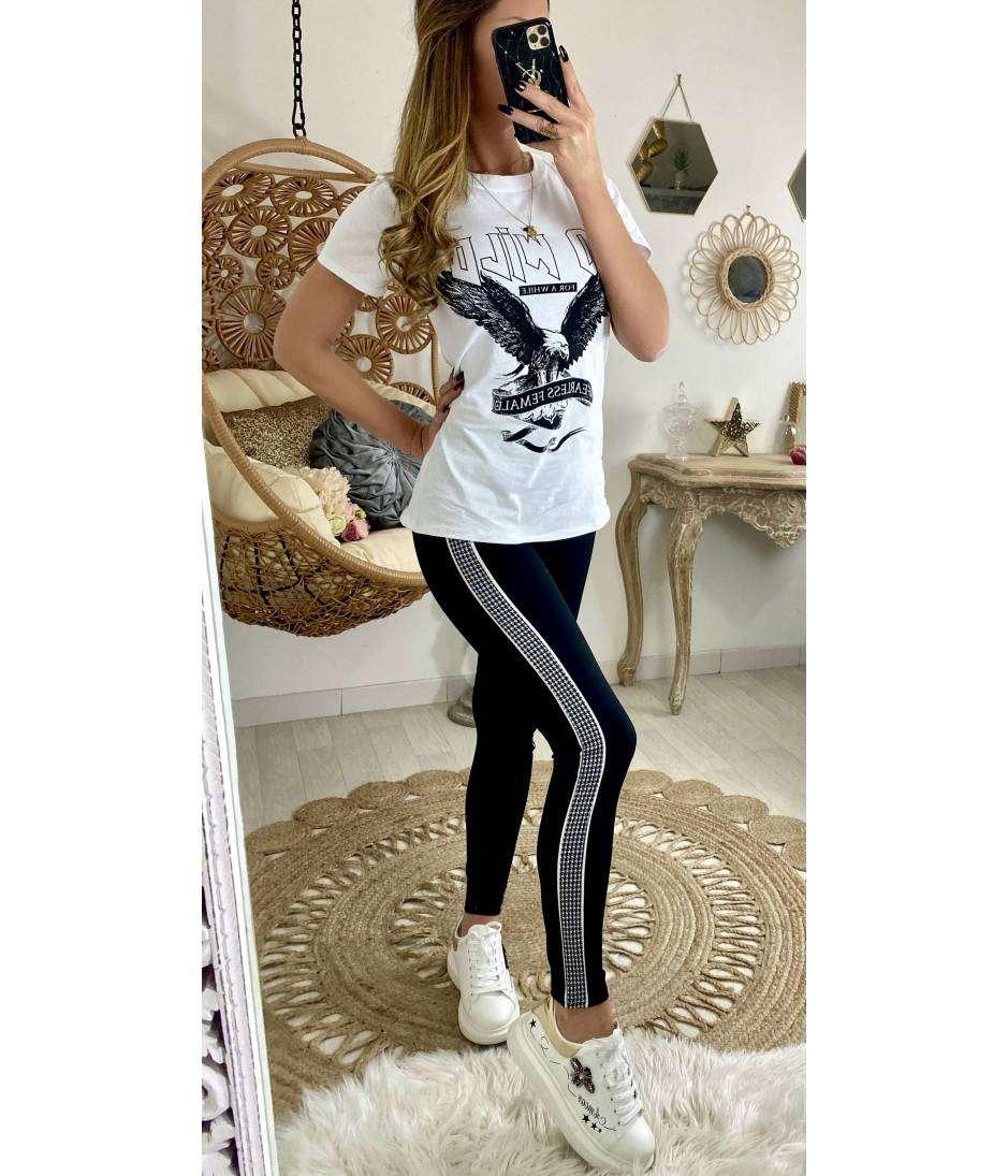 """Mon T-shirt blanc imprimé """"Rock & Roll"""""""