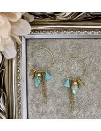"""Mes boucles d'oreilles anneaux """"mineral blue"""""""