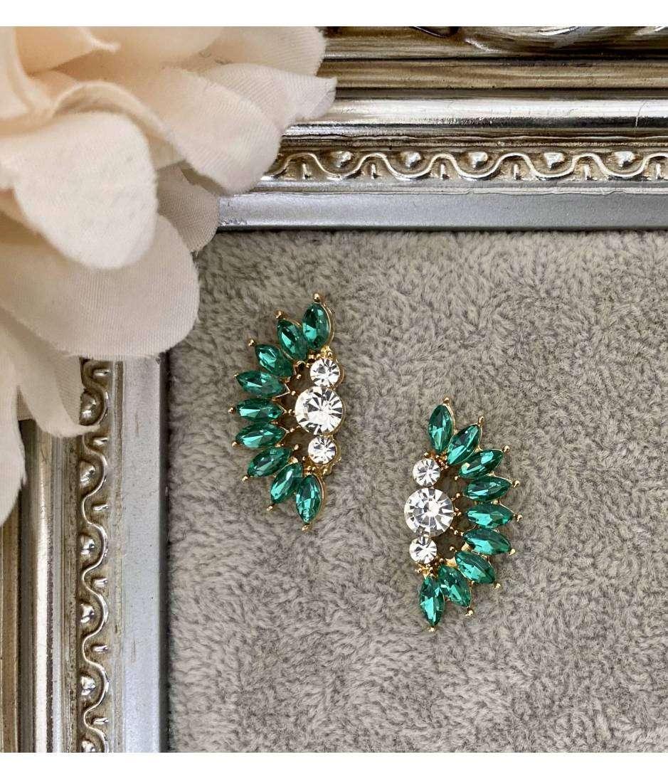 "Boucle d'oreille demi lune ""green diamonds"""