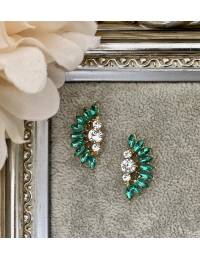 "Boucle d'oreille demi lune ""green diamonds"""