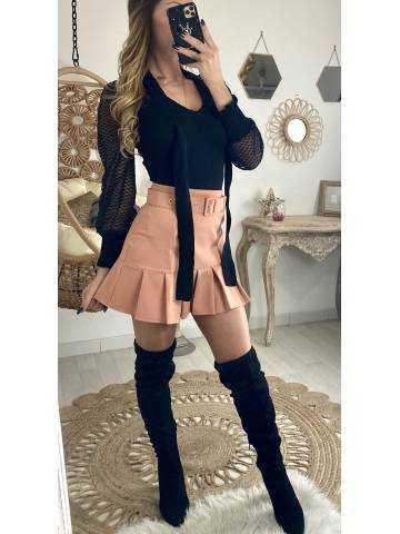 Ma joli jupe rose pêche & sa ceinture
