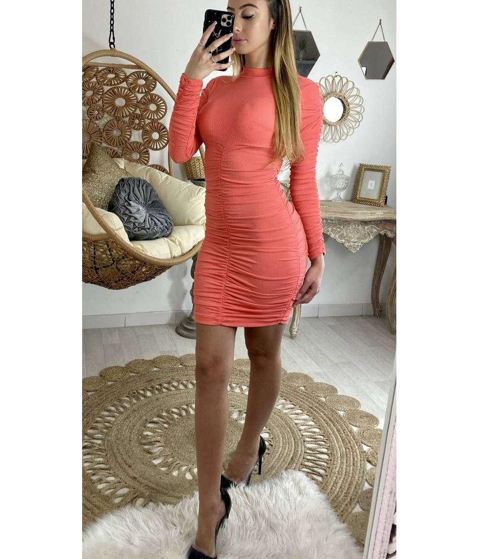 "Ma jolie robe rose corail ""froncée"""