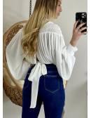 Ma blouse blanche smokée et dos noué
