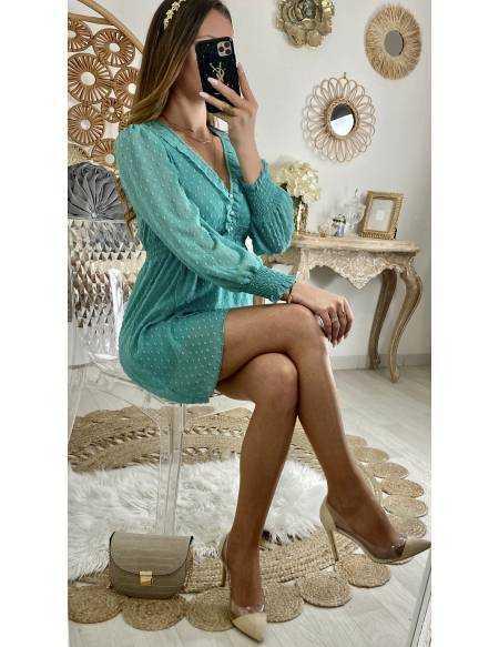 "Ma petite robe voilage et plumetis ""turquoise"""